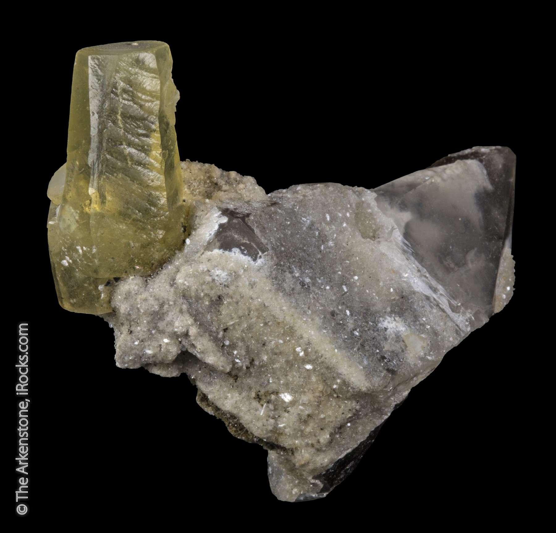 Smoky quartz hint pink elbaite albite form matrix doubly terminated