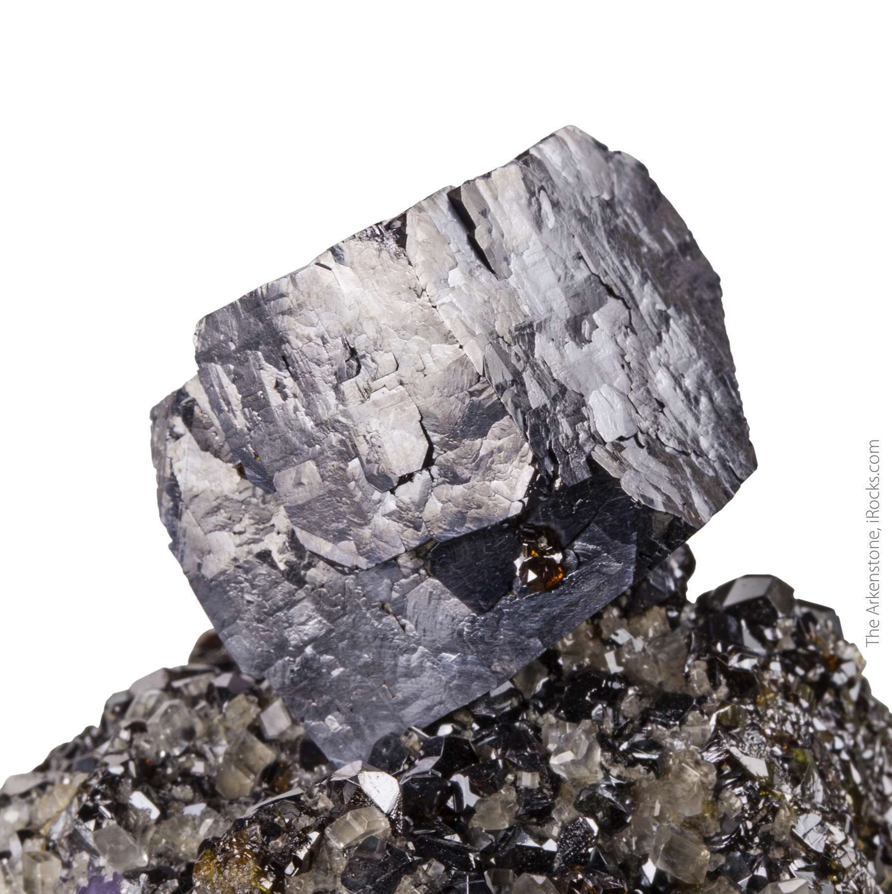 A superb isolated galena crystal Illinois fluorspar district This
