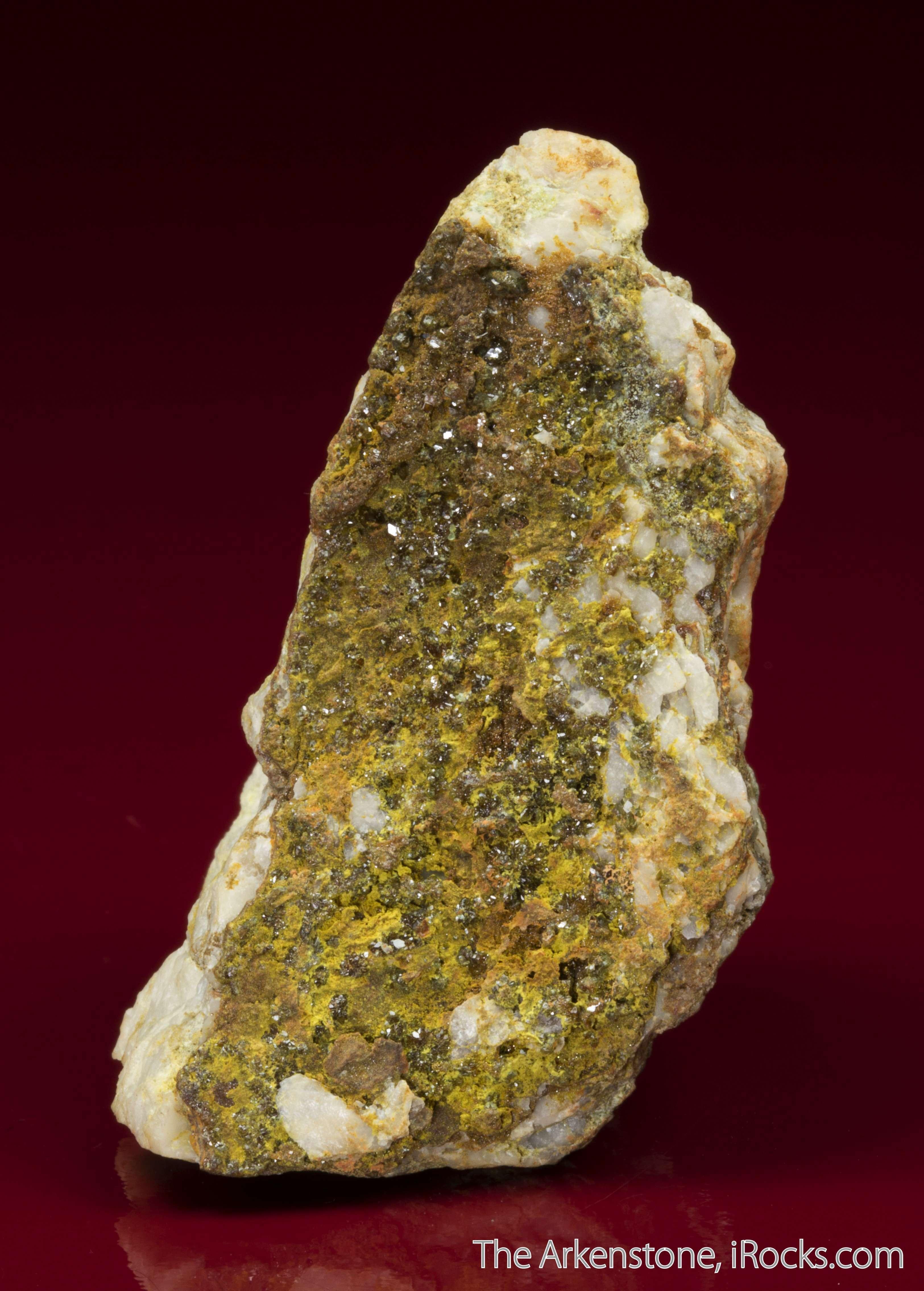 Yellow yellow brown vitreous crystals oxyplumboromeite 1mm densely