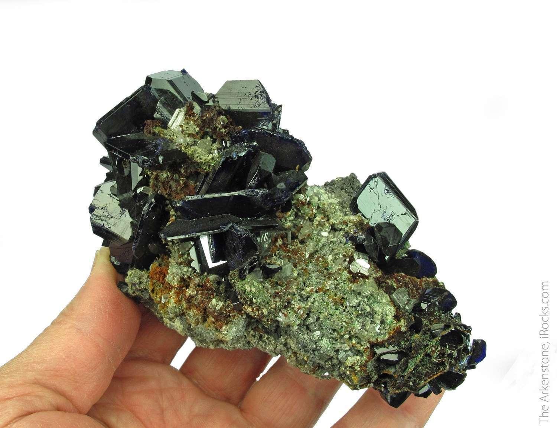 Impressive cabinet specimen Azurite displays tabular crystal habit