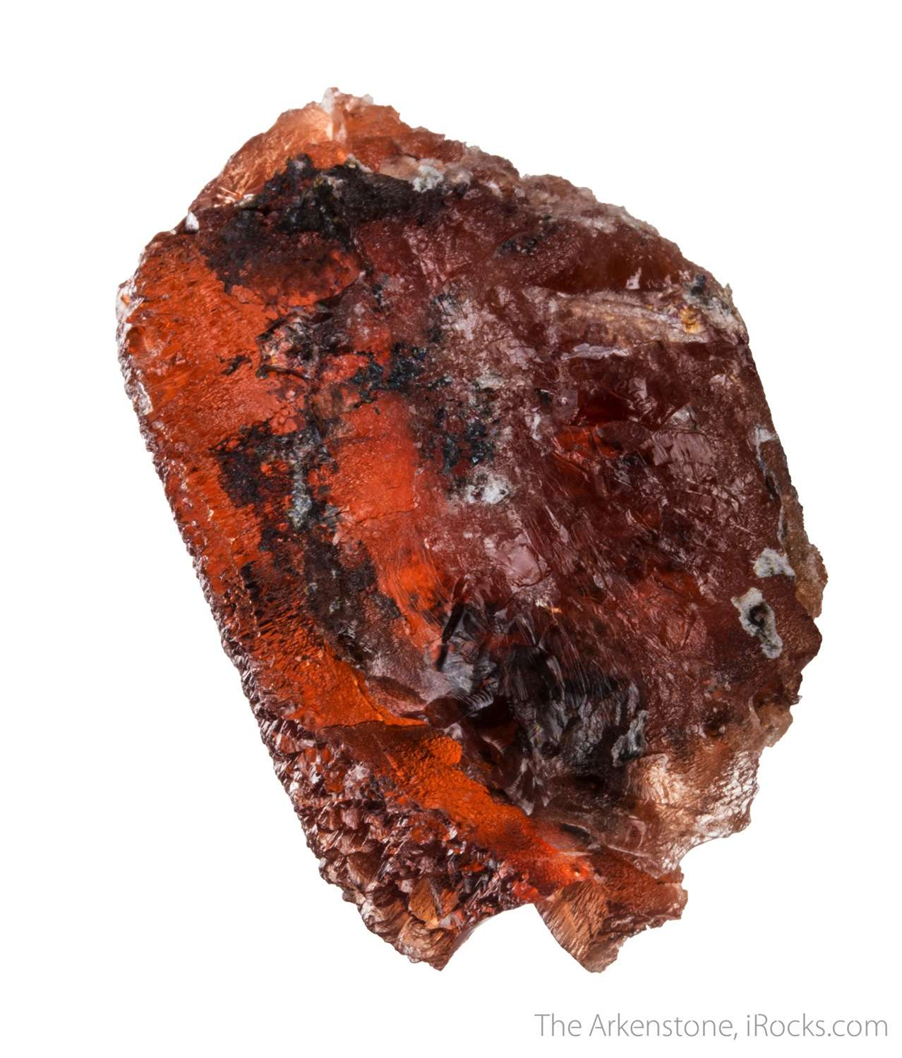 This relatively HUGE triplite crystal shows like red windowpane fully