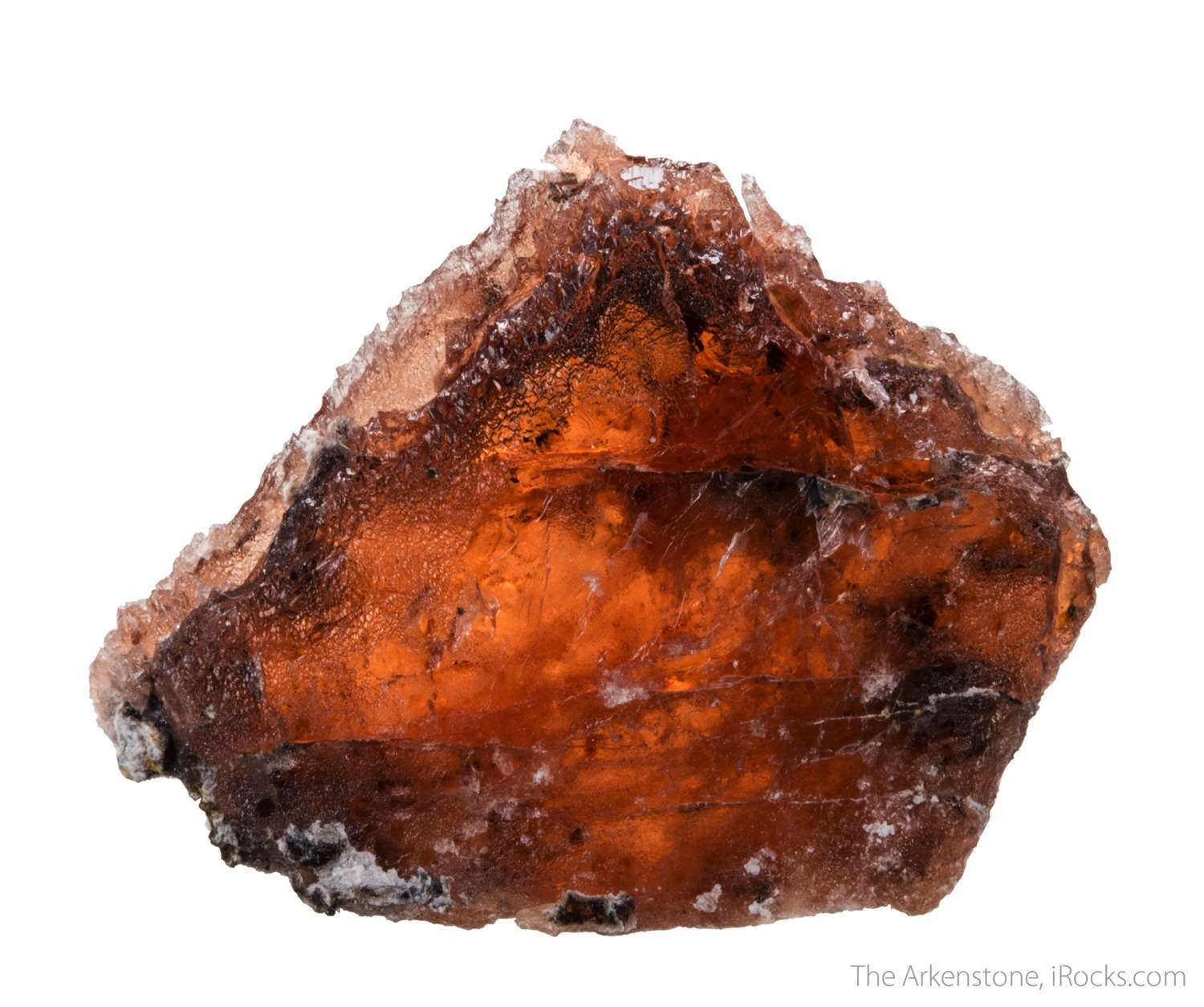 A single large triplite crystal shows like red windowpane fully