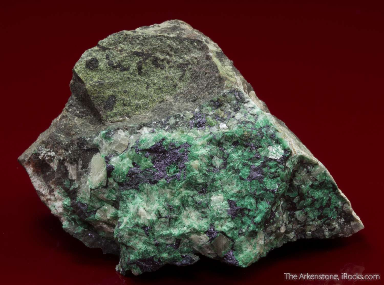 Iridescent violet red blue umangite occurs anhedral aggregates 1mm