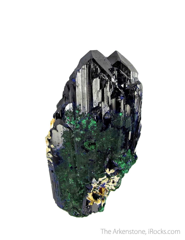 A dramatic Azurite specimen robust crystals intense blue color light
