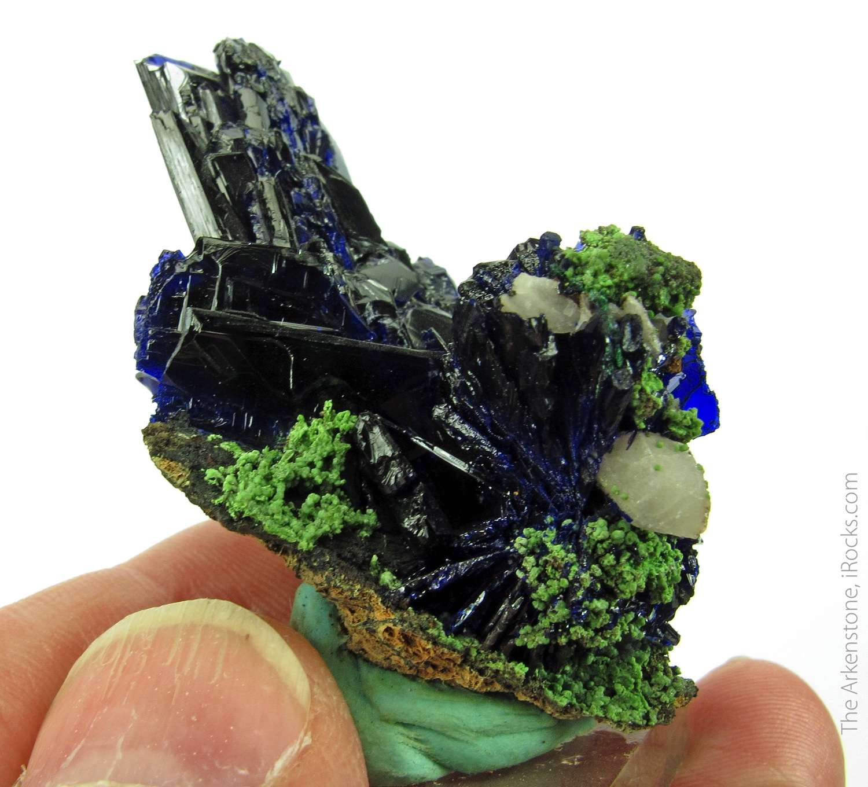 Beautiful cluster bladed Azurite combination Quartz unusual Tsumeb