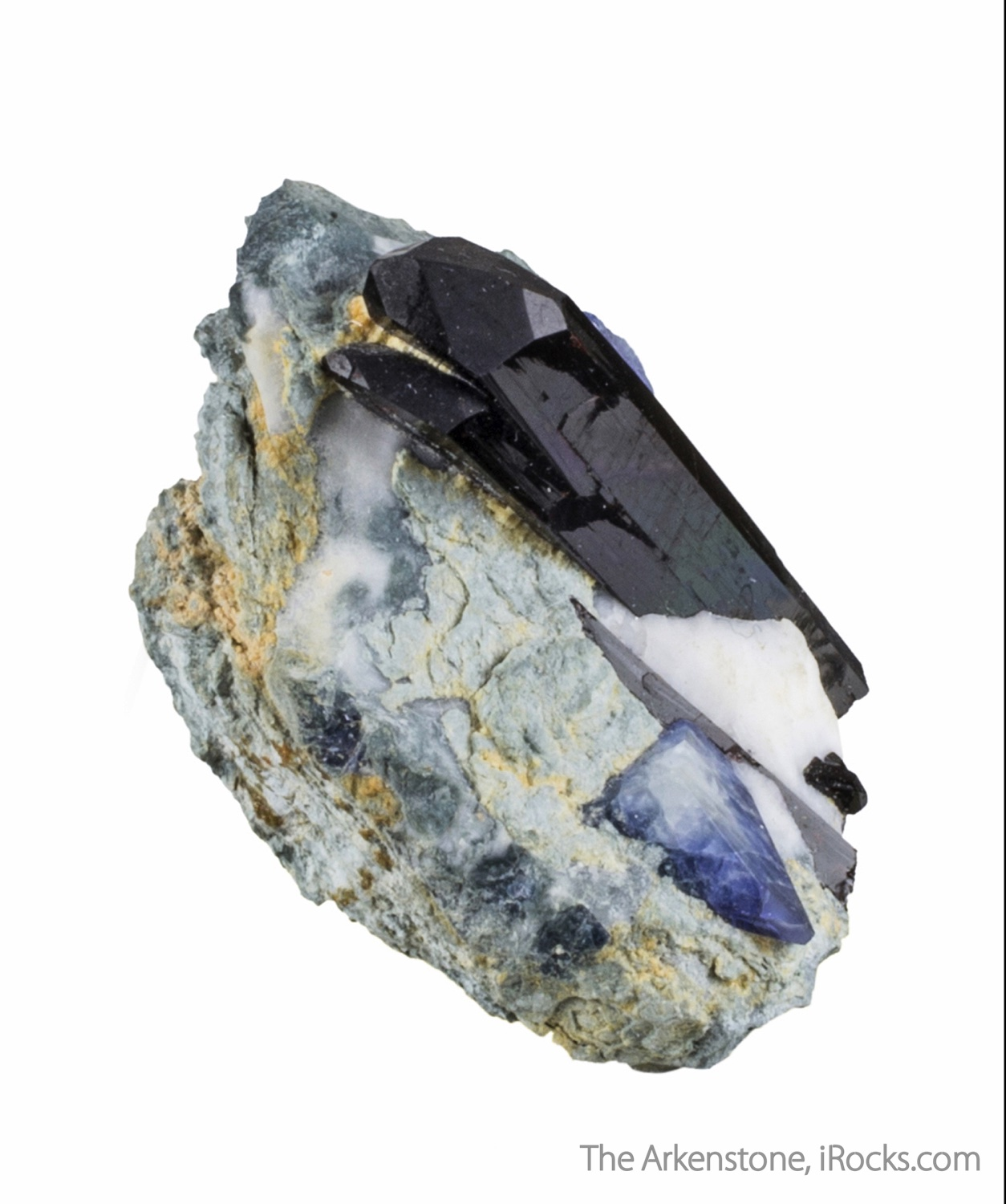 This exquisite miniature highlighted lustrous black crystal neptunite
