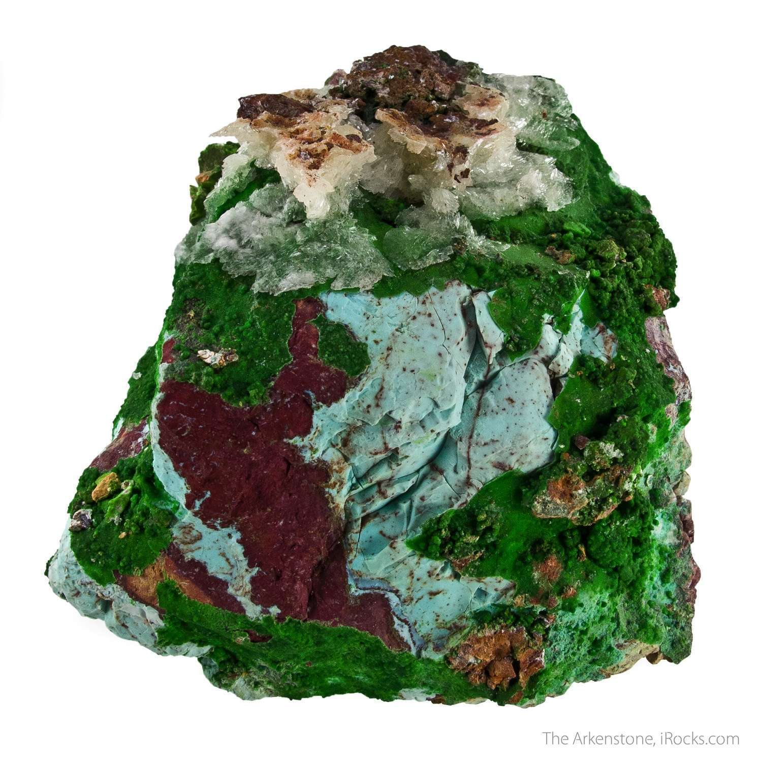 Patches bright green conichalcite microcrystals beautifully accent