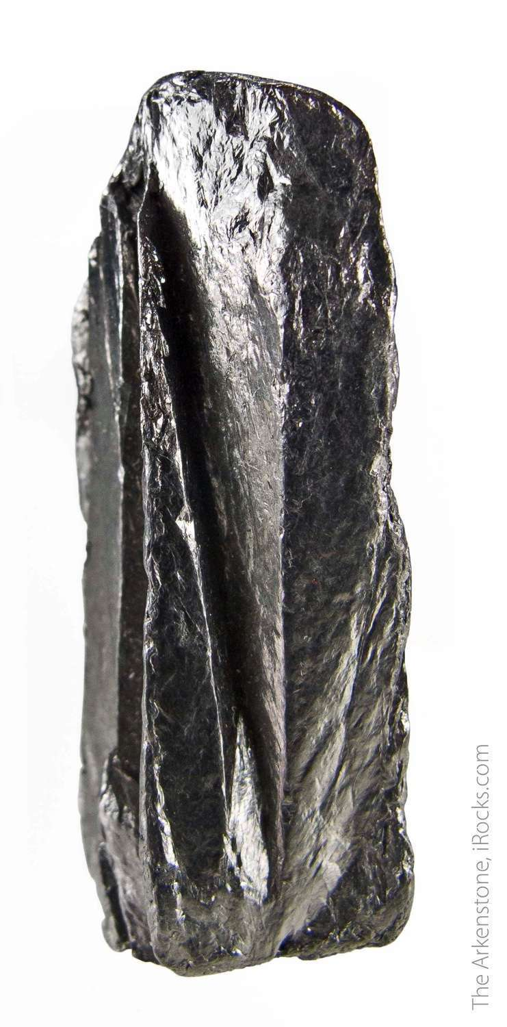 A large 3 9cm long columnar crystal graphite This lustrous steel gray