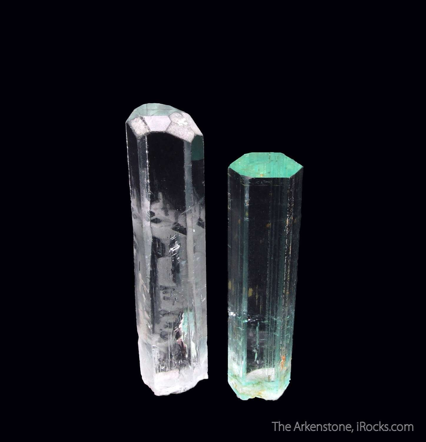 Fine gemmy pair Aquamarines Shigar Valley showing kinds terminations