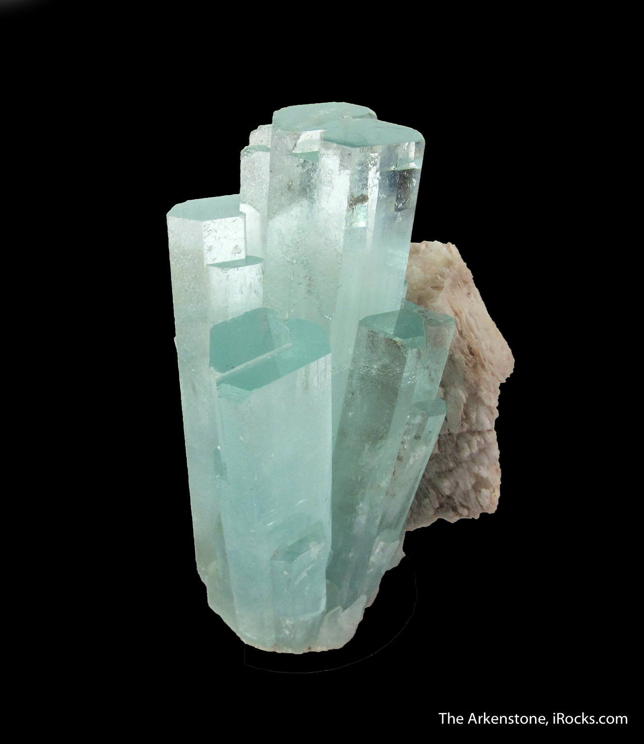 Lovely spray translucent gemmy Aquas perched beautifully Feldspar