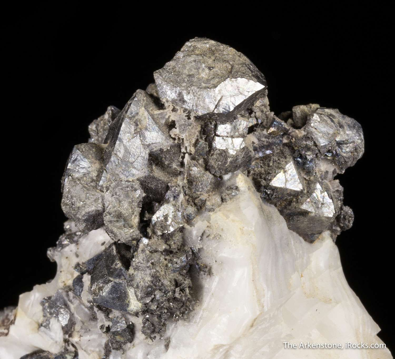 Contrasting nicely white calcite matrix cluster isometric silver