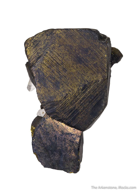 An unusual locality specimen Lustrous dark brassy yellow crystals