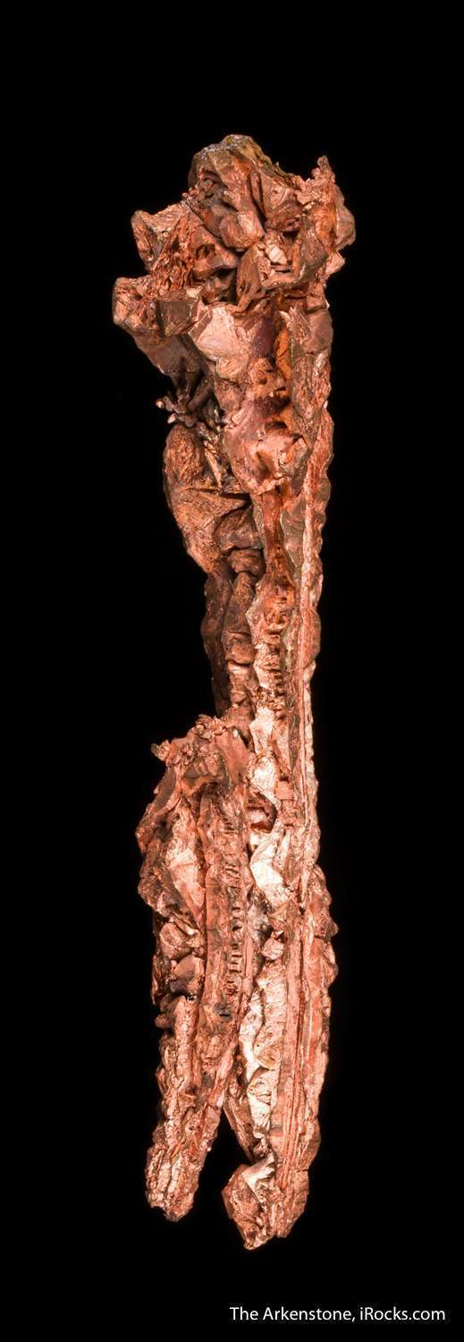 Bright untarnished elongated spinel twins copper 9 cm length exhibit