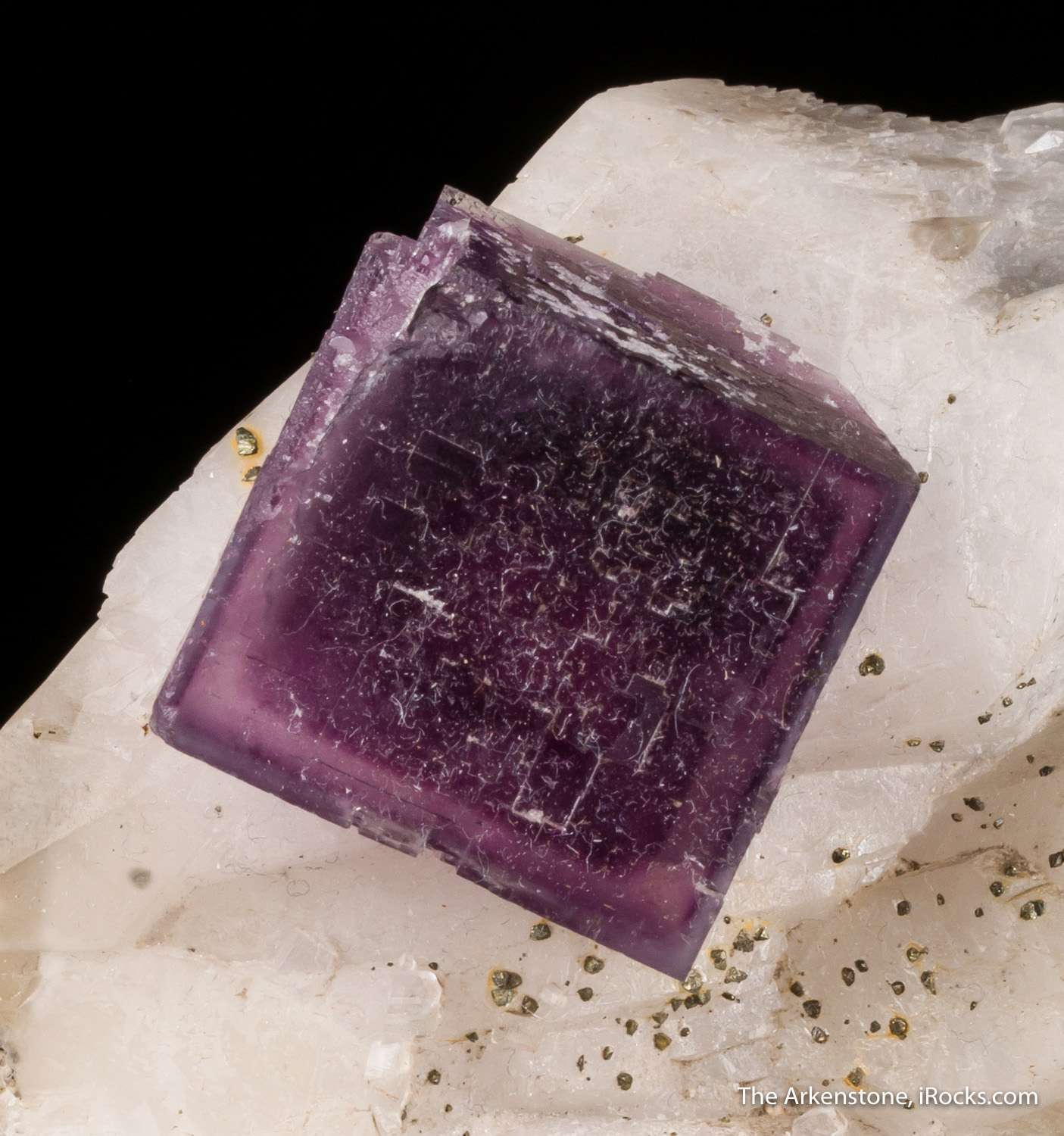 An unusual locality specimen deep purple fluorite phantom inch calcite