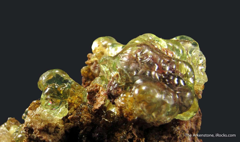 Gemmy lustrous botryoidal coating fluorescent light green Hyalite Opal
