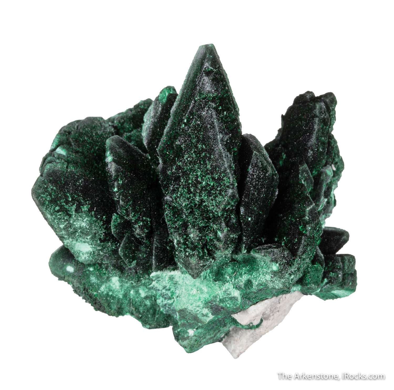 A lovely cluster parallel growth velvety green pseudomorphs malachite