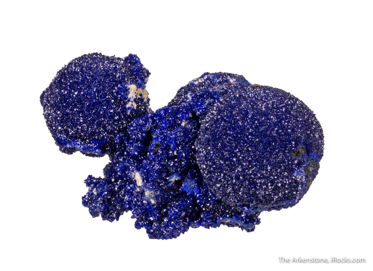 Three intergrown spheres scintillating royal blue azurite 1 3 cm