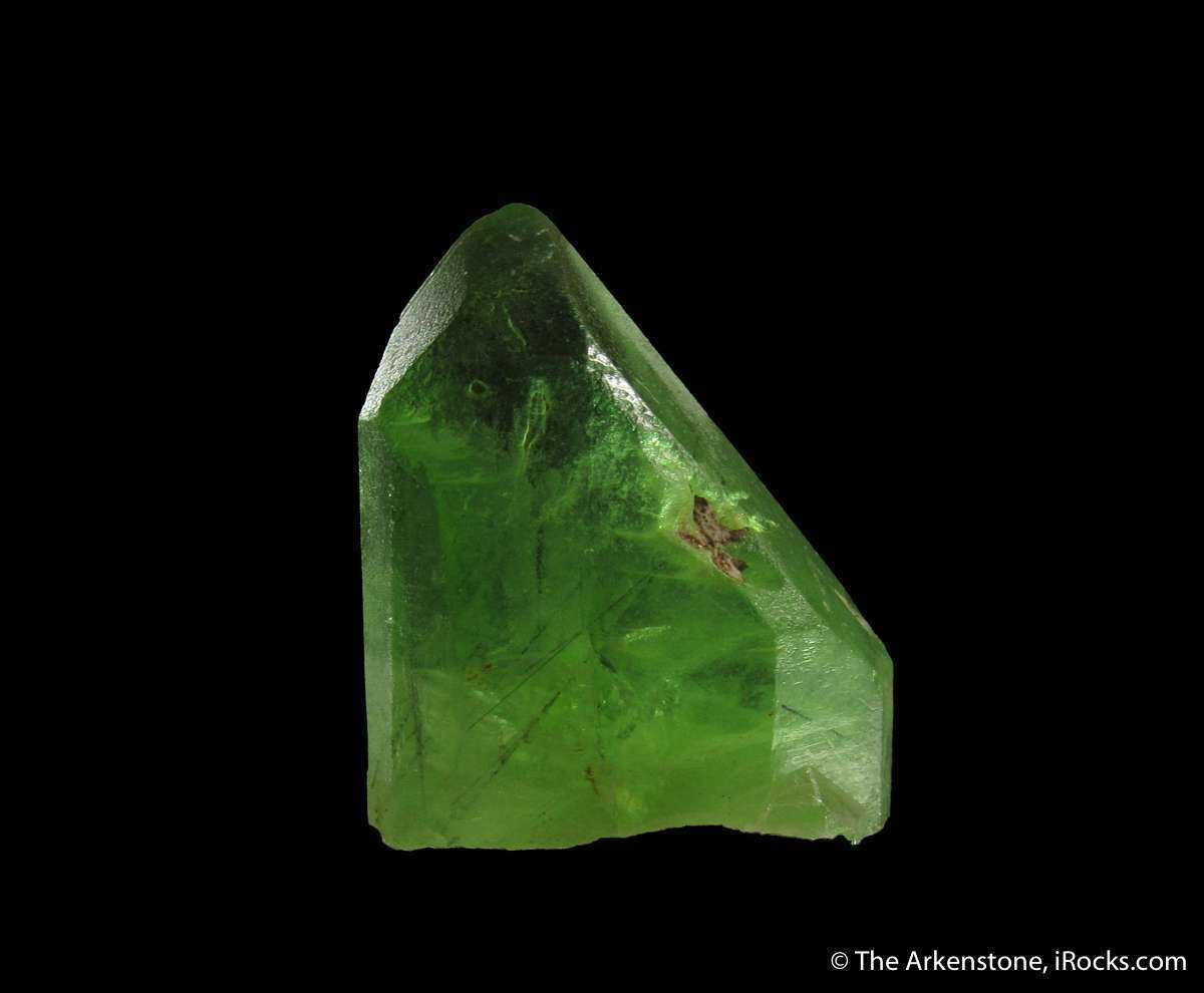 This Peridot crystal unusually fine intense lime green color good