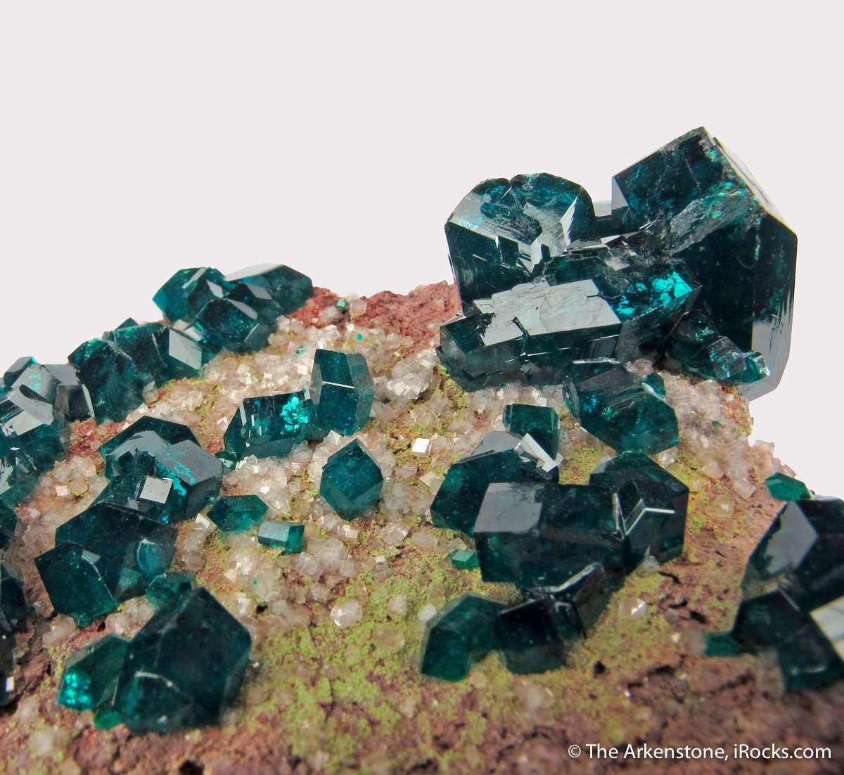 Outstanding specimen lustrous deep green Dioptase crystals matrix