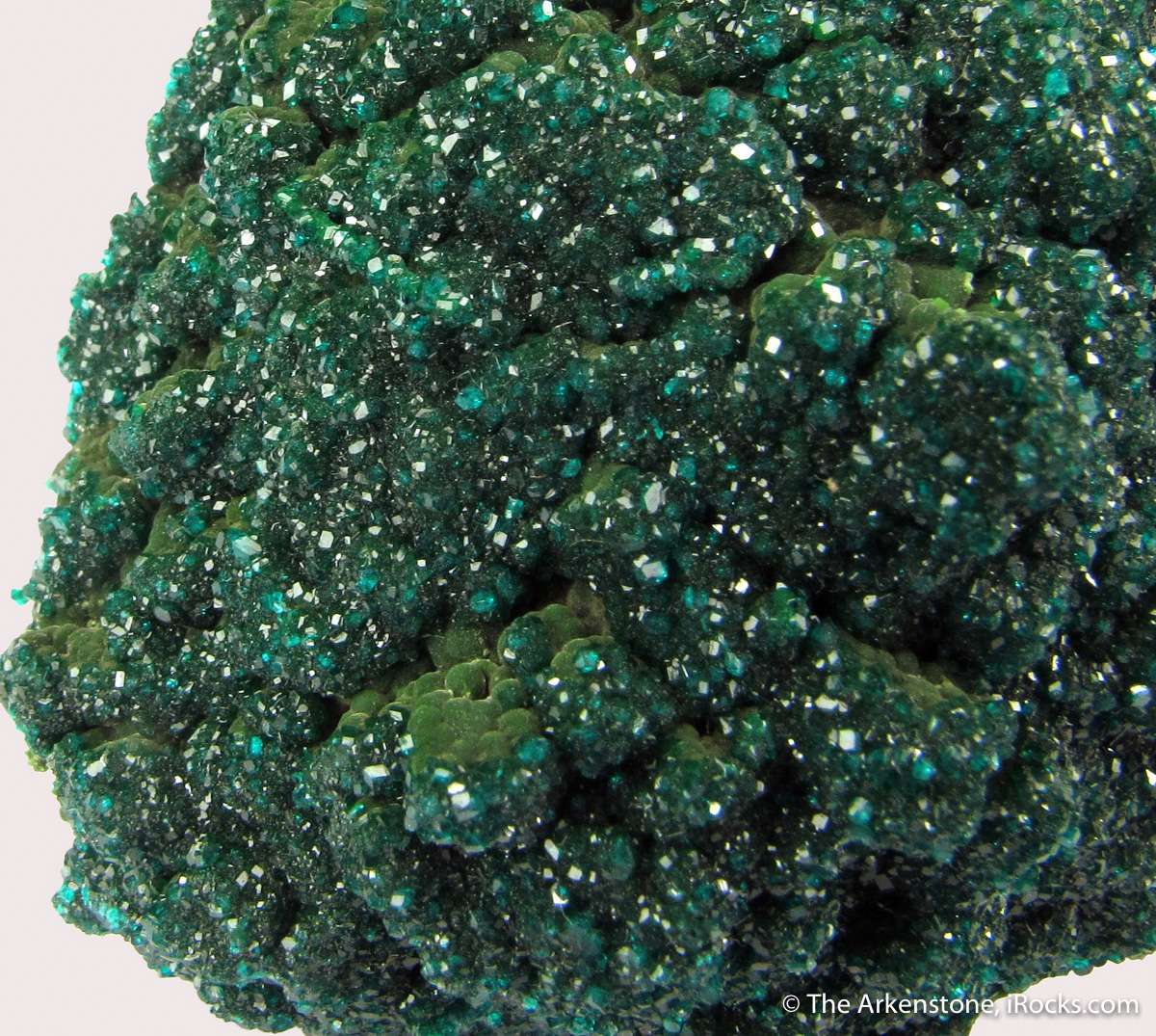 Beautiful deep green crust mm size Dioptase crystals matrix