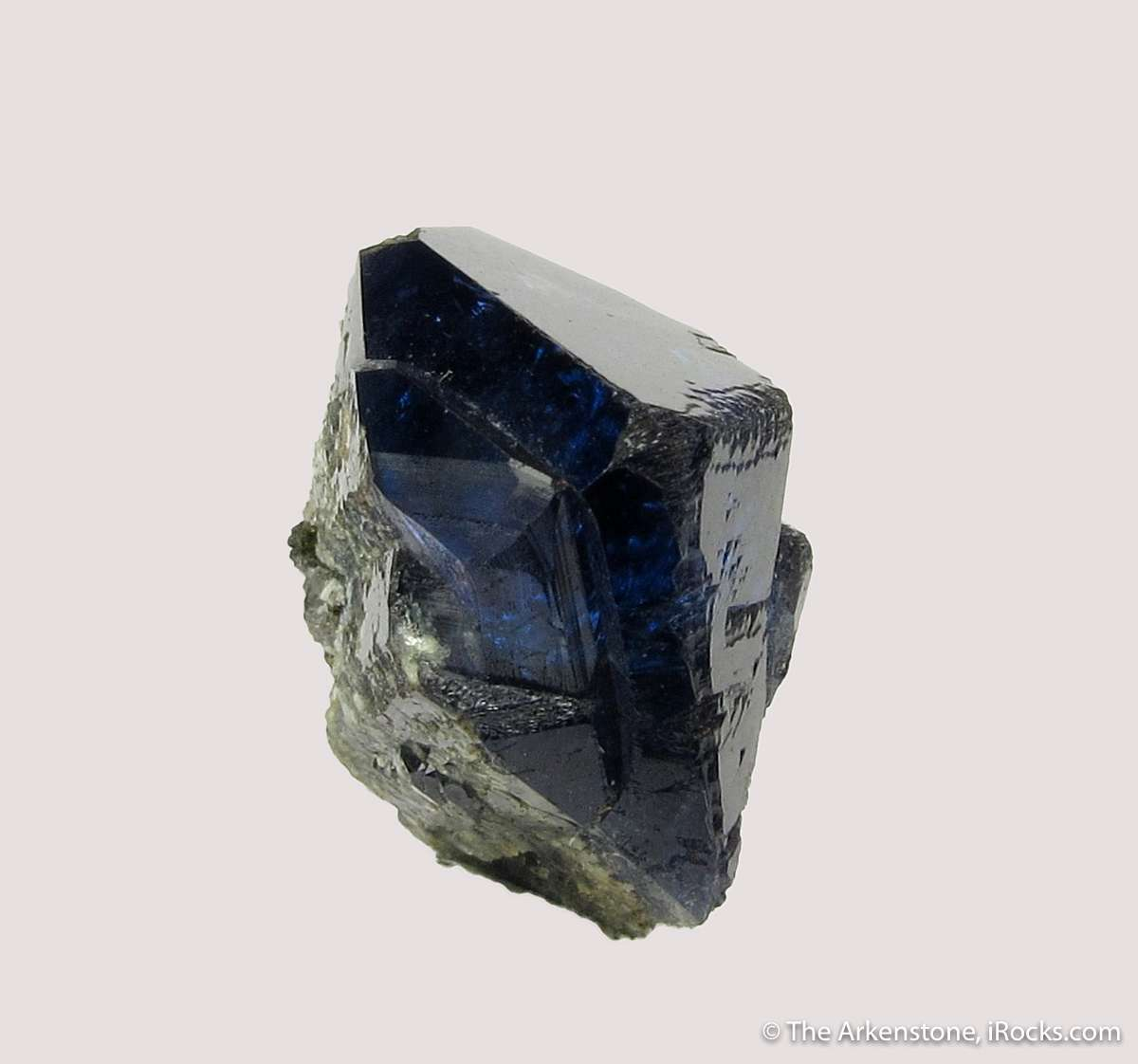 A fine single crystal deep blue Scorodite nice termination good luster