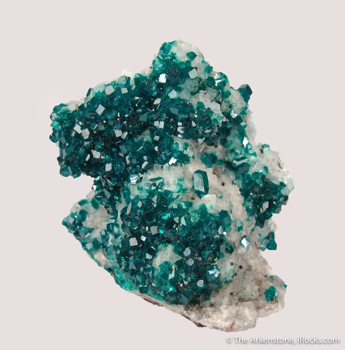 Very good classic Tsumeb combo Dioptase Calcite Both species