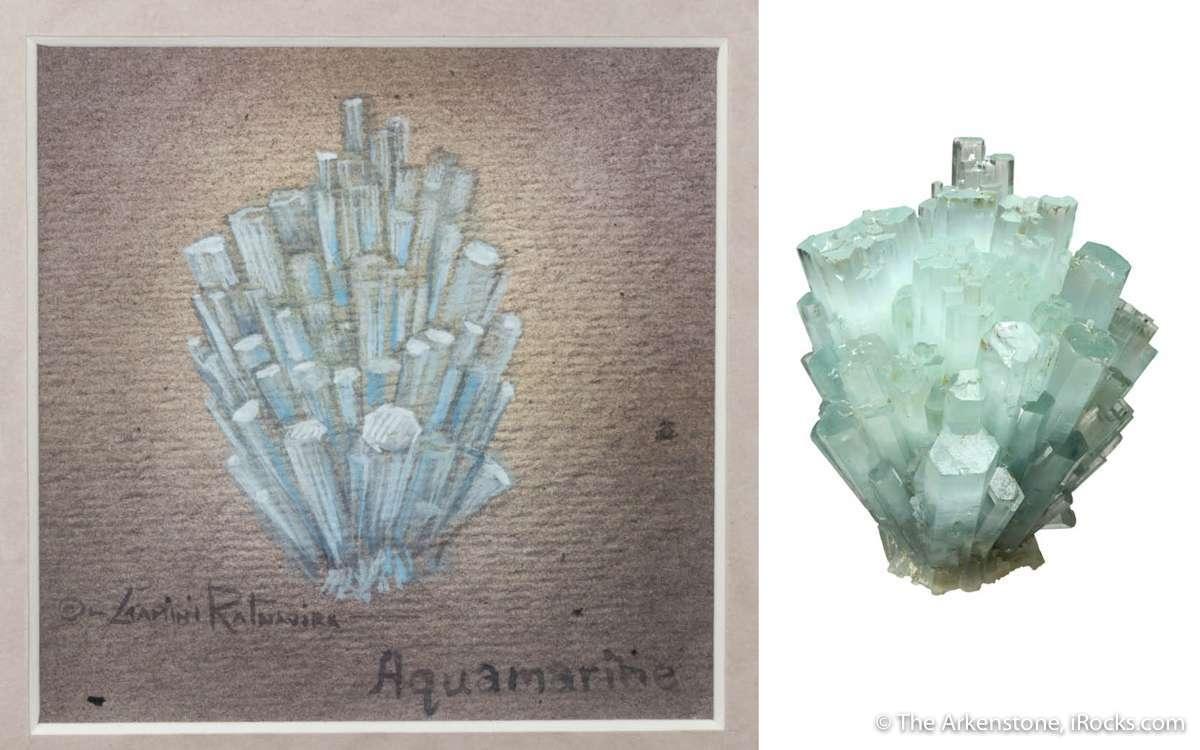 This 360 degree spray radiating aquamarine crystals shooting common