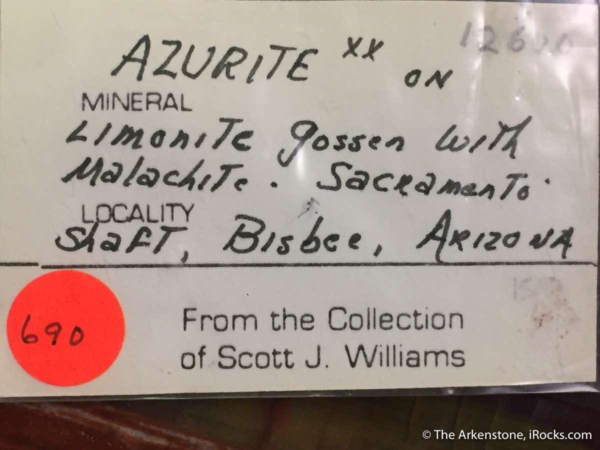 A choice cabinet specimen Azurite Malachite minor Baryte Limonite