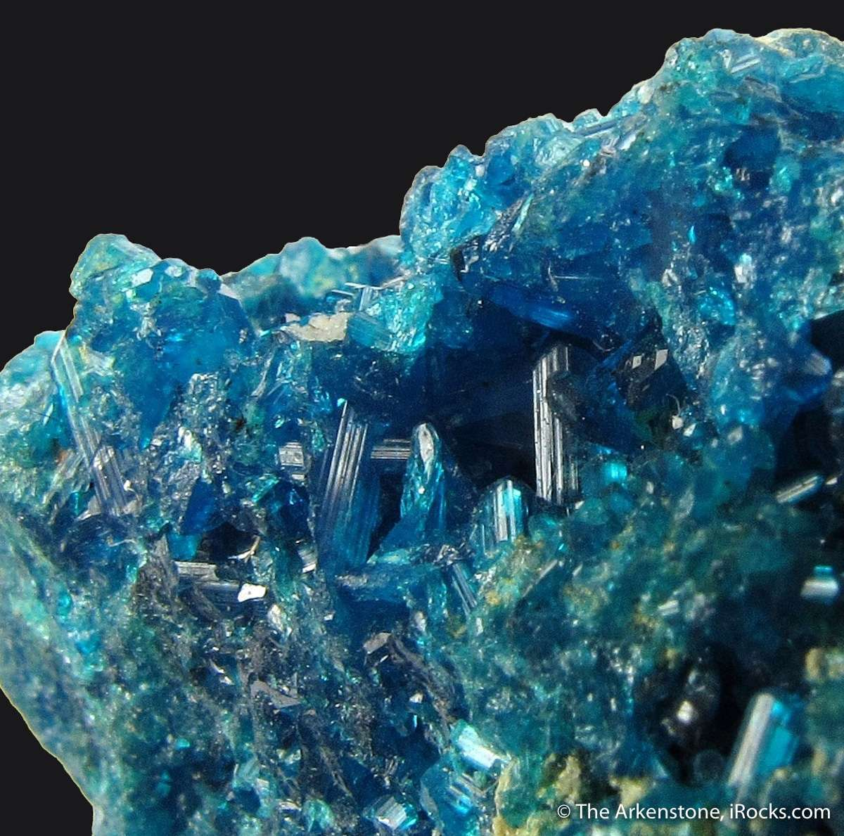 A rich sparkling specimen copper lead sulphate Caledonite The crystals