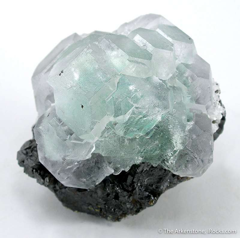 The color center cluster gemmy fluorite crystals pastel green