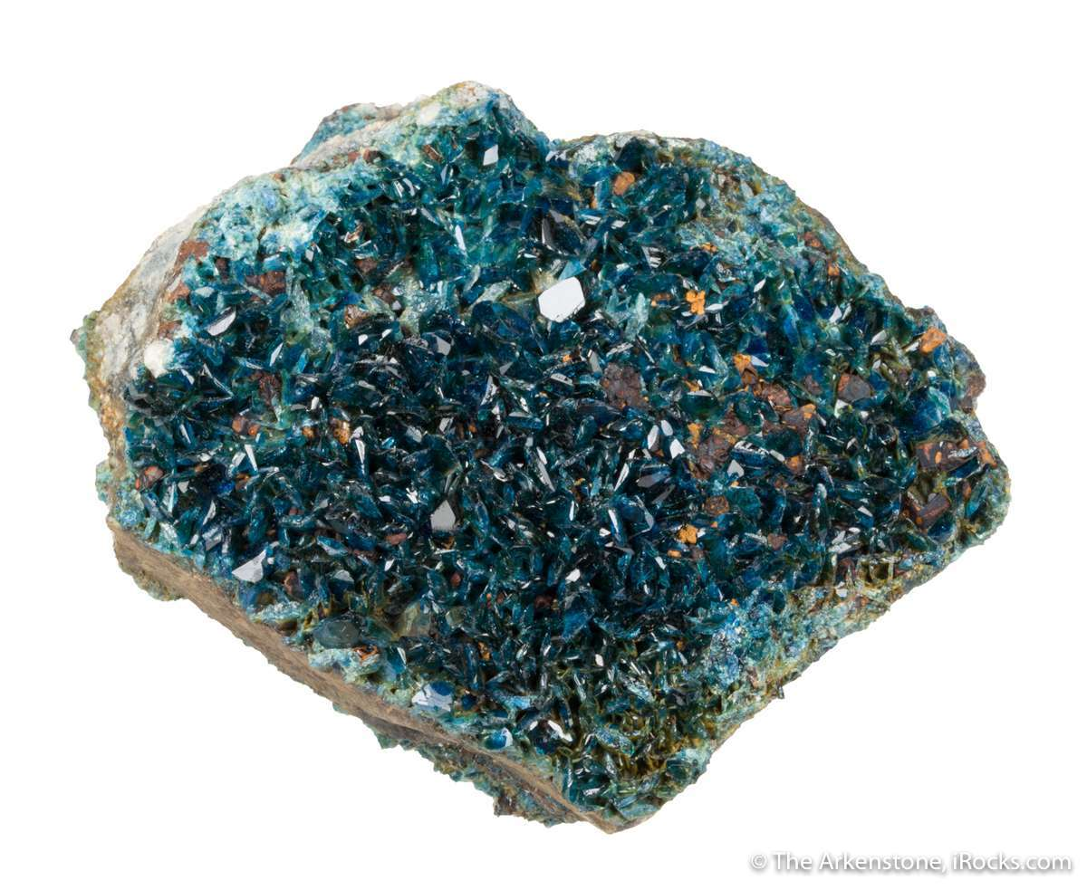 A druse lustrous translucent gemmy blue lazulite crystals covers