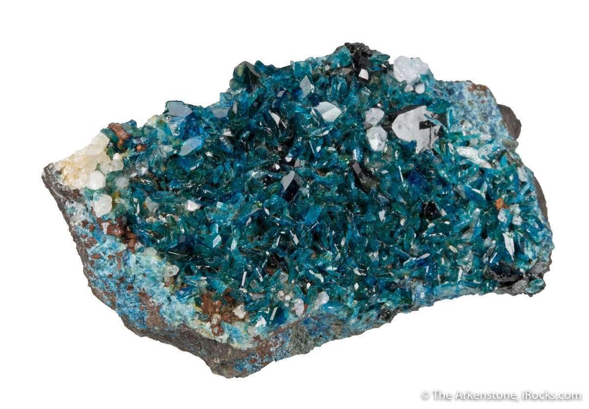 A sparkling druse lustrous translucent dark blue lazulite contrast