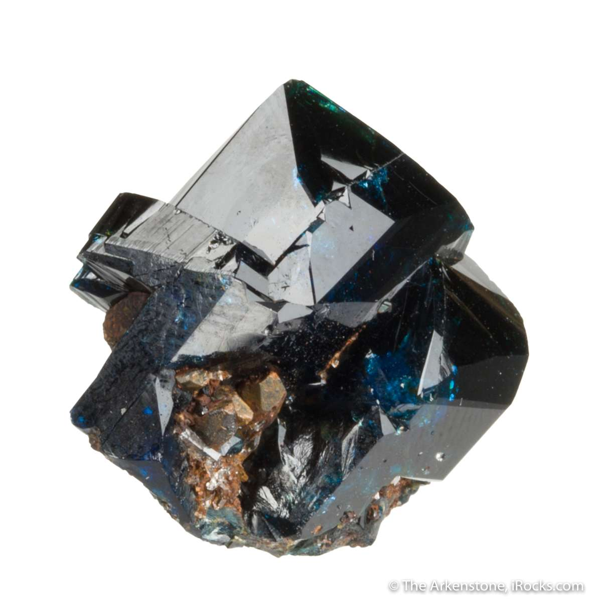 This superb specimen highly lustrous royal blue lazulite crystals 1 2