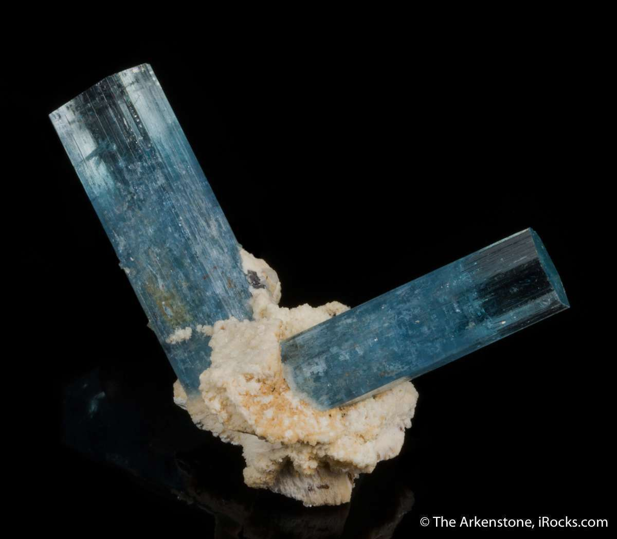 Superbly emplaced bit feldspar rabbit ear crystals aquamarine 3 1 cm